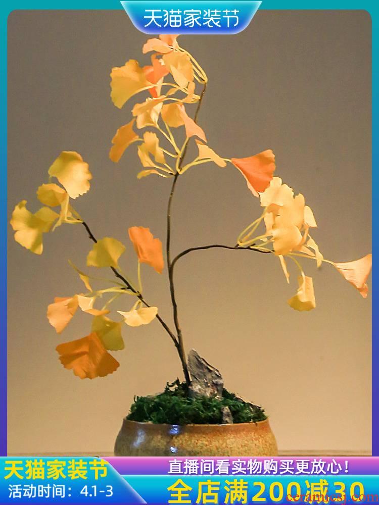 Jingdezhen Chinese style retro nostalgia sitting room, dining - room simulation ginkgo bonsai creative home decoration vase furnishing articles