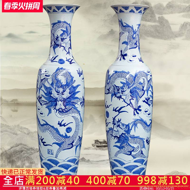 Blue and white porcelain of jingdezhen ceramics manual its dragon vase of large sitting room adornment is placed hotel opening gifts