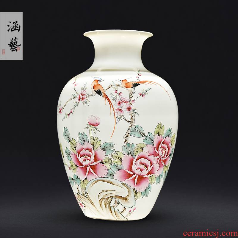 Jingdezhen ceramics hand - made pervious to light spring scenery garden furnishing articles vases, new Chinese style flower arrangement sitting room adornment handicraft