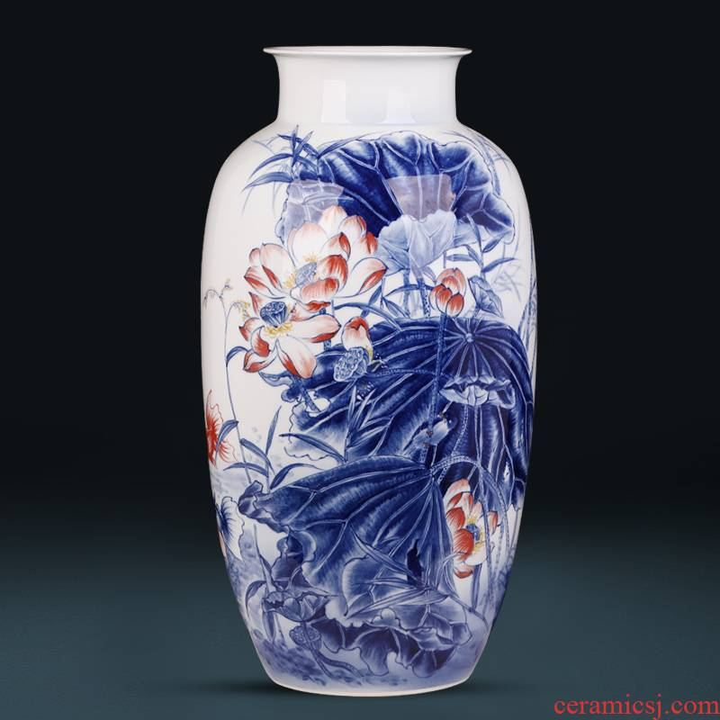 Jingdezhen ceramic masters hand - made furnishing articles sitting room blue and white porcelain vase flower arranging Chinese porcelain home decoration