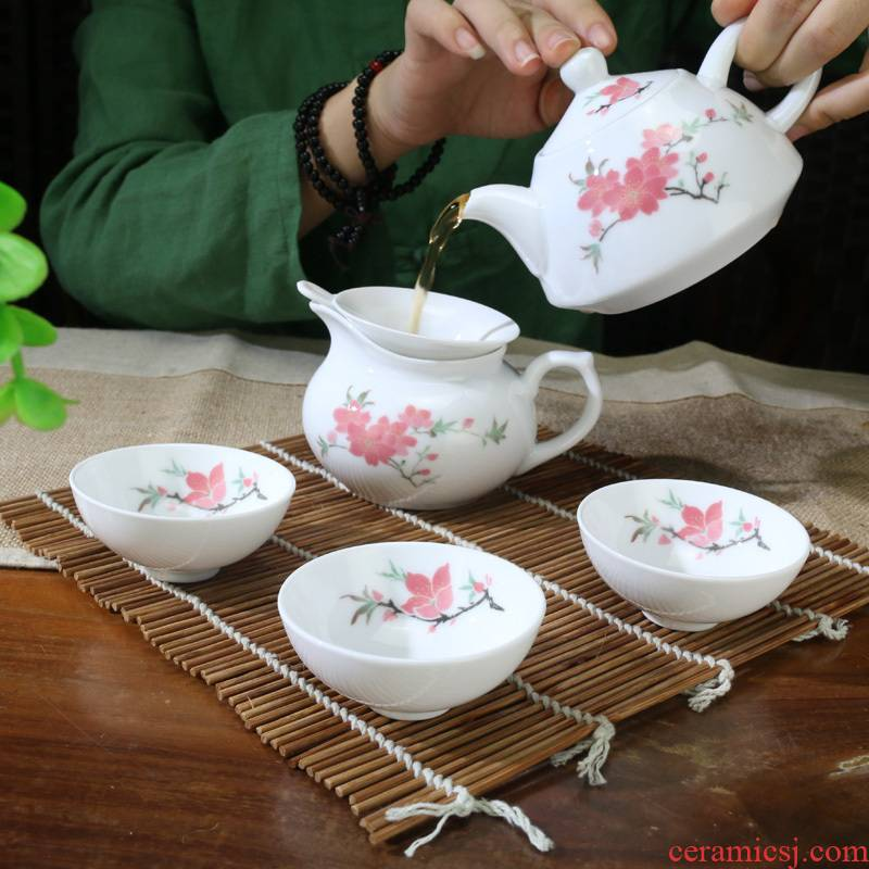 Liling porcelain ceramic Chinese style kung fu tea set under the glaze colorful hand - drawn teapot six cups craft gift