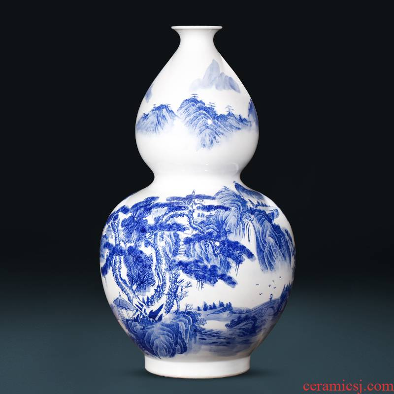 Jingdezhen ceramics landing large Chinese blue and white porcelain bottle gourd vase sitting room feng shui decorations furnishing articles