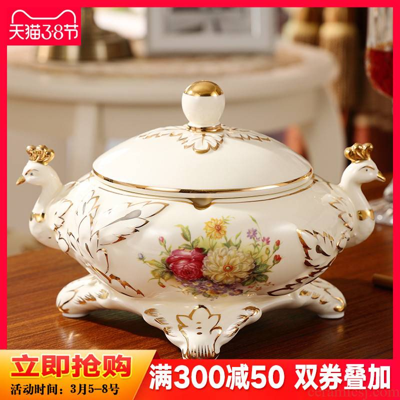 Wind cover the ashtray European - style key-2 luxury individuality creative practical ceramic peacock sitting room tea table decoration furnishing articles