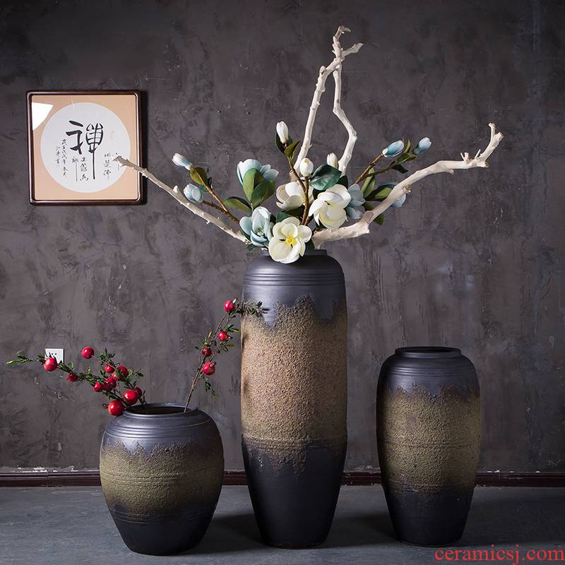 Hotel lobby floor high - end ceramic vase furnishing articles power pottery flower arranging device villa example room coarse pottery