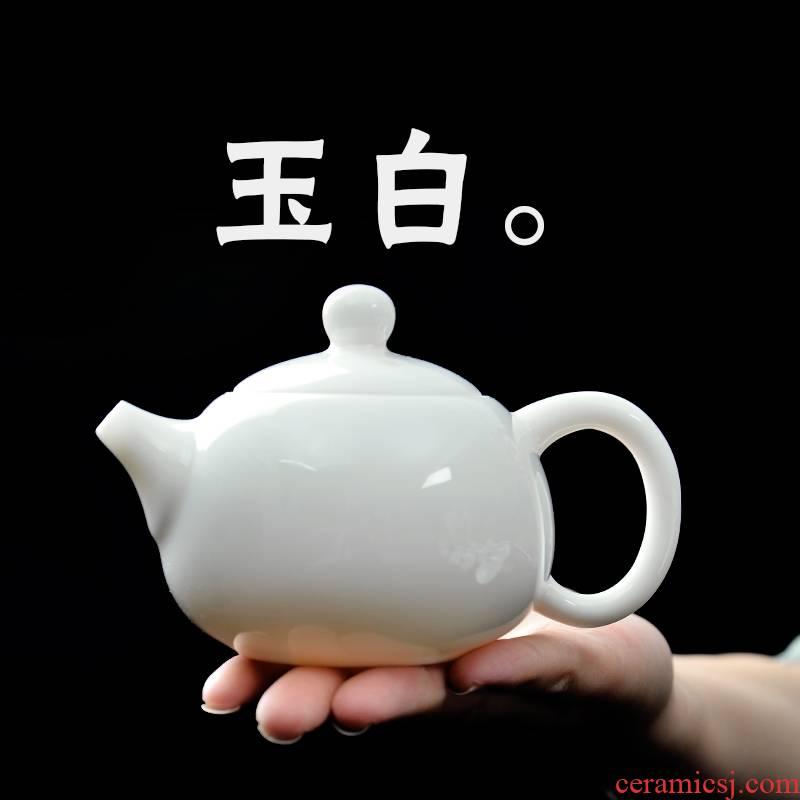 Public remit teapot mini white porcelain kung fu xi shi pot single pot, ceramic pot teapot small Japanese tea tea set