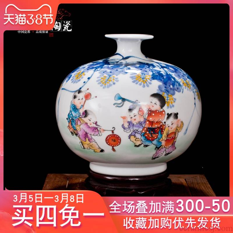 Jingdezhen ceramic big vase Chinese hand - made pomegranate bottled act the role ofing is tasted furnishing articles sitting room study handicraft decoration