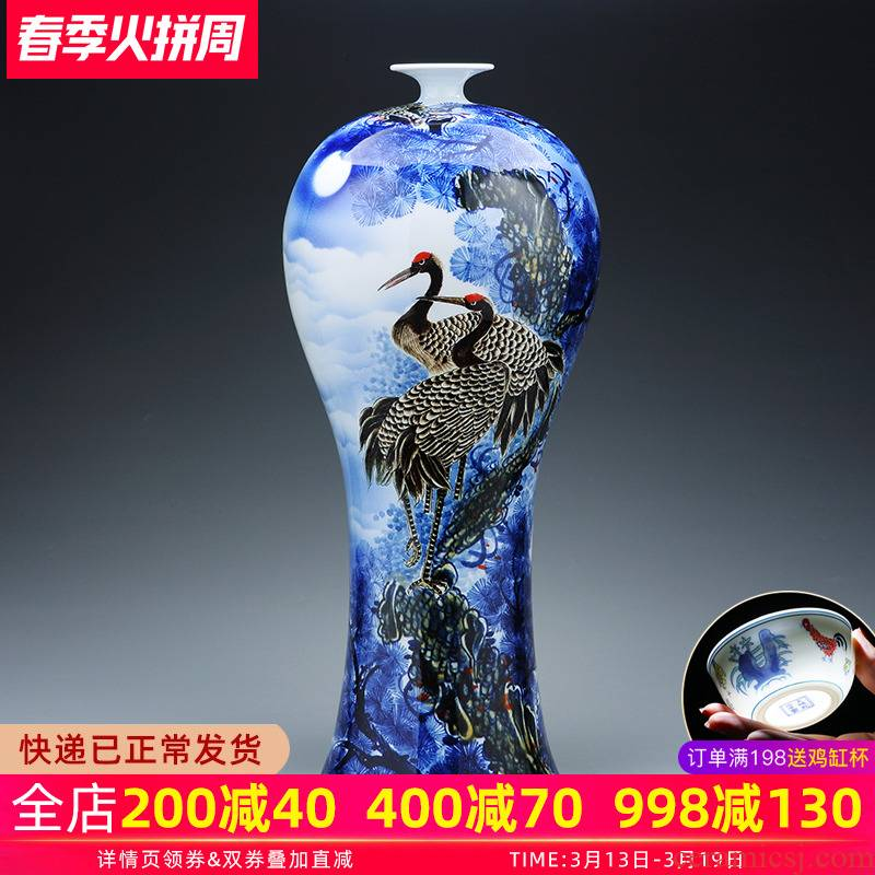 "Jingdezhen ceramics big vase hand - made ""pine crane live"" be born Chinese living room home furnishing articles"