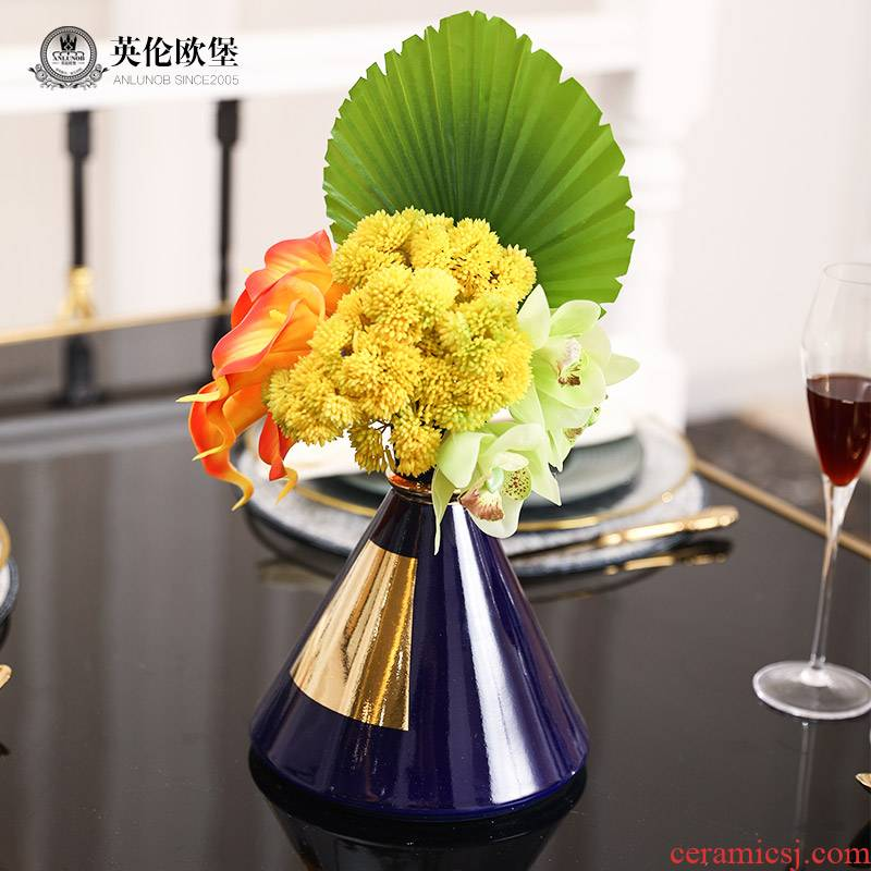 Modern European ceramic vase furnishing articles creative gold - plated flower living room table floral hand flower adornment