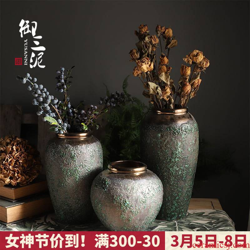 Jingdezhen coarse some ceramic pot hydroponic dried flower flower vase landing roses sitting room adornment vase restoring ancient ways furnishing articles
