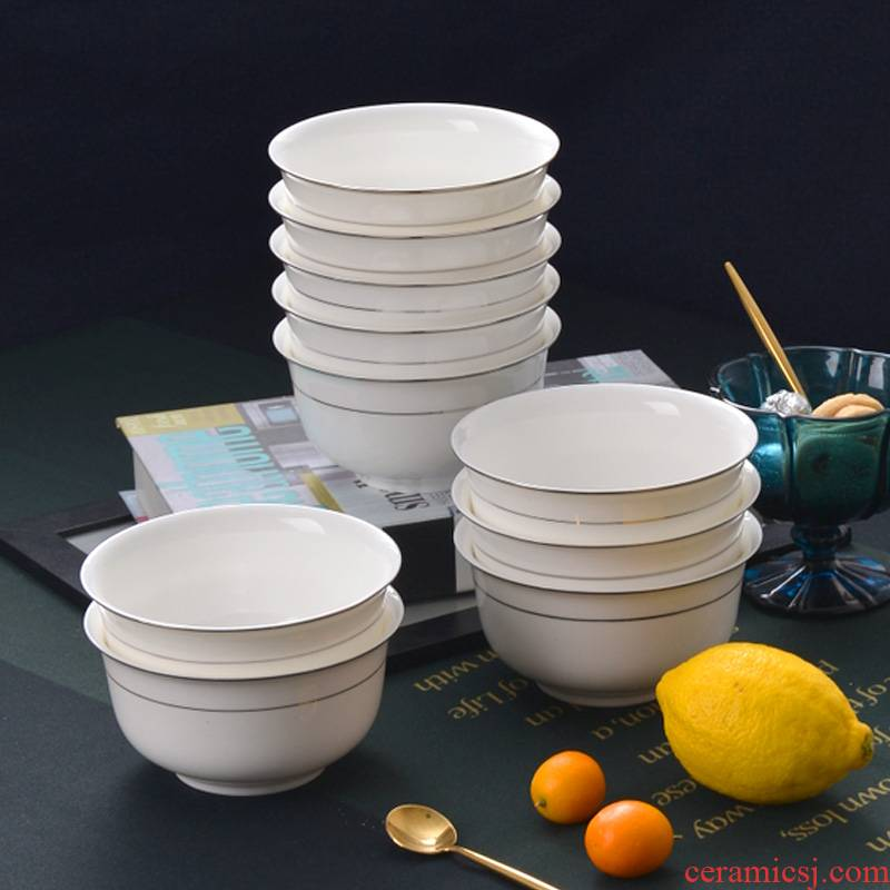 5 inches up Phnom penh 10 at tangshan ipads porcelain tableware rice bowls bowl of household ceramic bowl white bowls rainbow such use