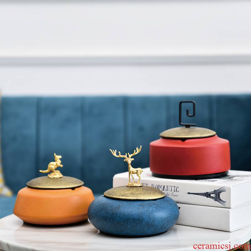 Ashtray new Chinese style household with cover the Ashtray fashionable tide restoring ancient ways ceramic decoration ashtrays sitting room tea table