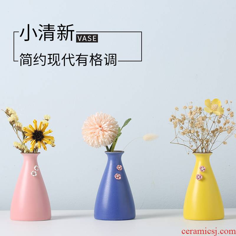 Small pure and fresh and dried flowers, ceramic vase furnishing articles Nordic home sitting room TV ark adornment metope porch decoration arranging flowers