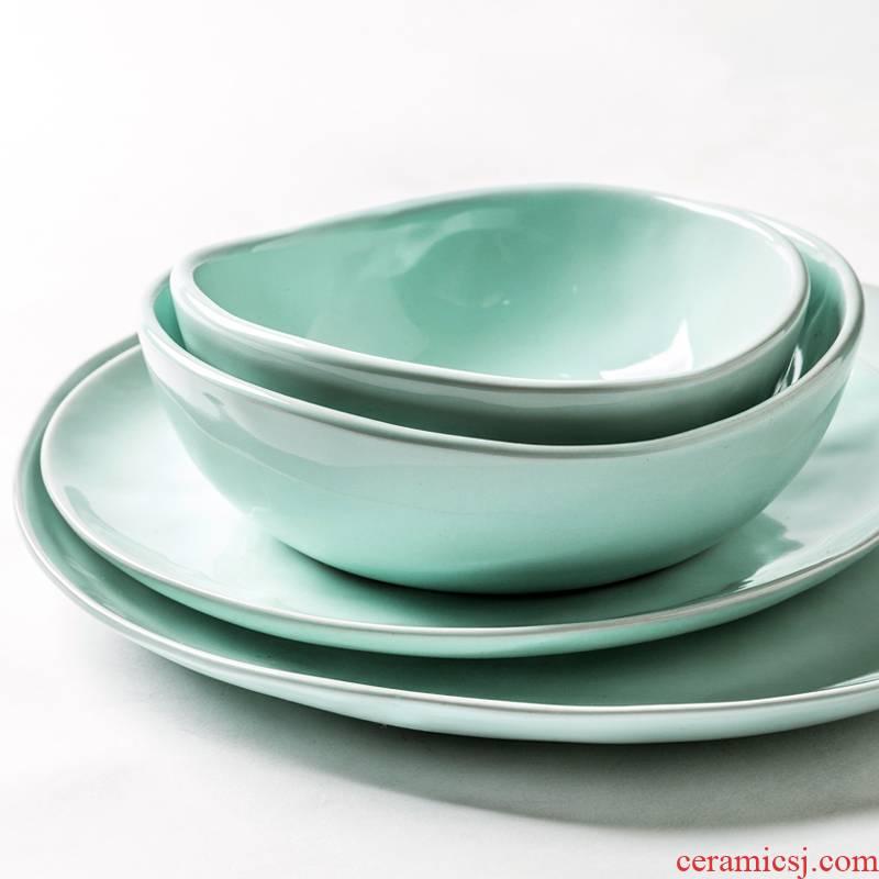 Porcelain soul Nordic ins creative marca dragon color ceramic tableware plate steak household food dish dish food dish bowl