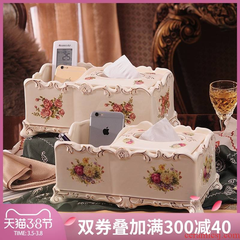 European tissue box multi - function remote control boxes ceramic suction box creative home sitting room napkins for box