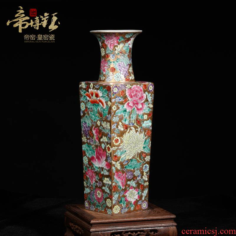 Jingdezhen ceramics collection furnishing articles antique hand - made famille rose flower square bottle of flower arrangement, the sitting room adornment