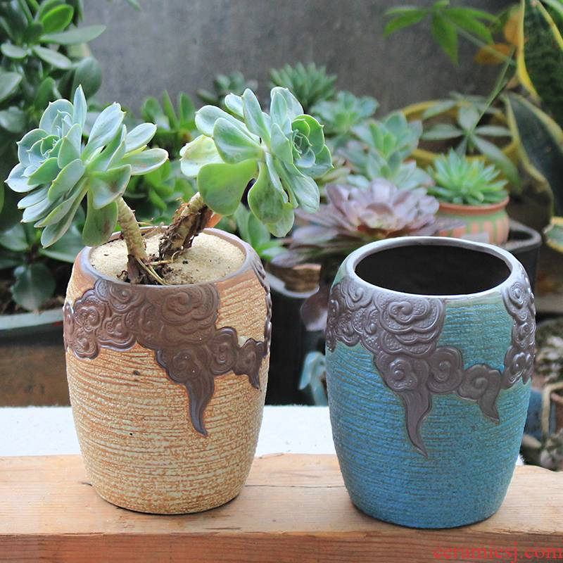 Old running the pot clay ceramic zhuang zi mage, coarse pottery creative Chinese wind restoring ancient ways meat meat large fleshy big flower pot
