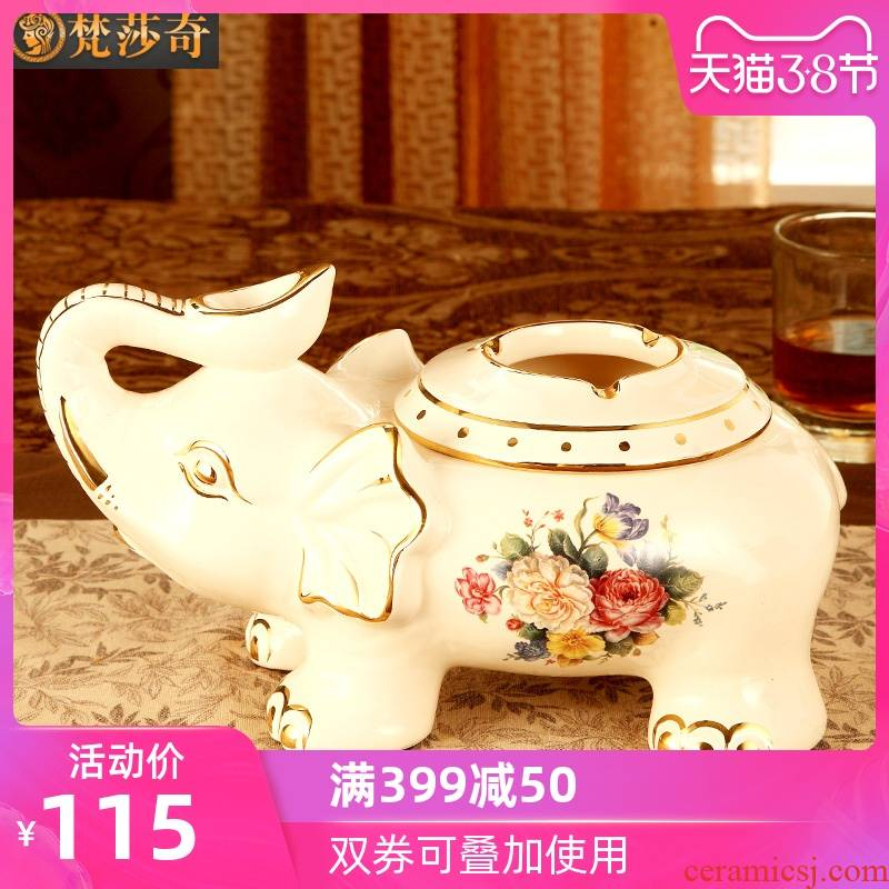 Vatican Sally 's elephant European - style ashtray key-2 luxury home sitting room with cover of creative move ceramic ashtray office