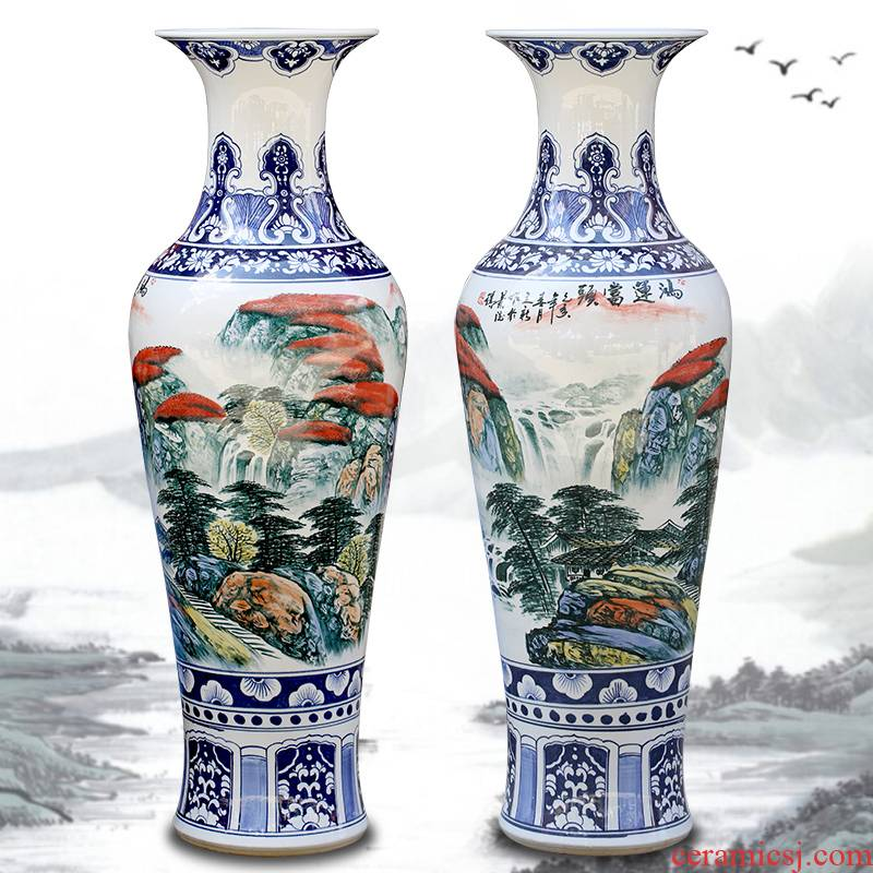 Jingdezhen ceramic hand - made luck landscape painting big vase household living room floor furnishing articles opening gifts