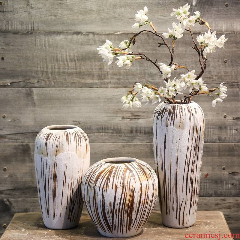 Jingdezhen coarse pottery ceramic vase restoring ancient ways suit furnishing articles table sitting room mesa simulation flowers decorated fake flowers