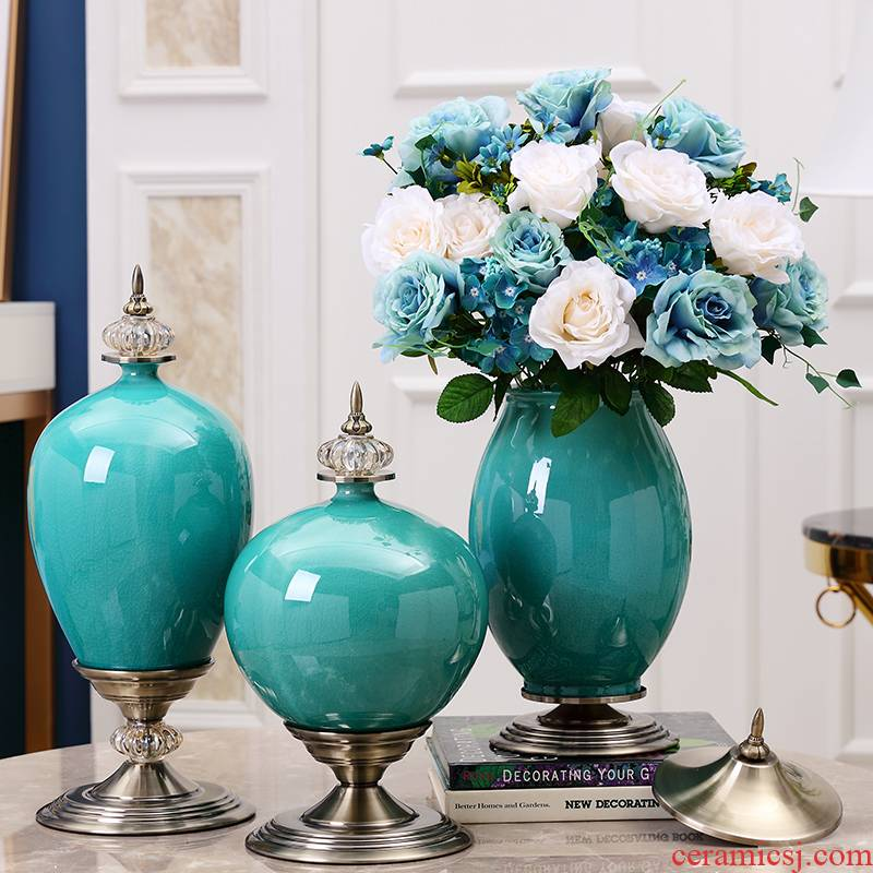 European ceramic vase furnishing articles villa living room table flower arranging American household dry flower decoration key-2 luxury example room