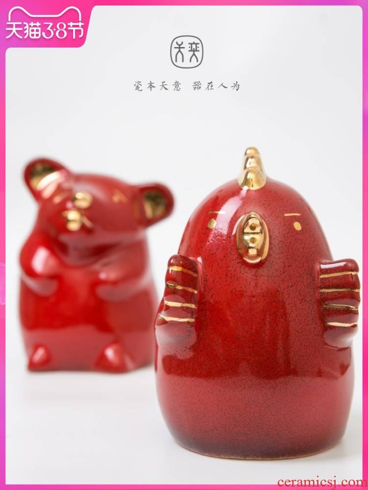 """Ji red Chinese zodiac"" jingdezhen furnishing articles red home decoration day yi ceramics festival, lovely gift"
