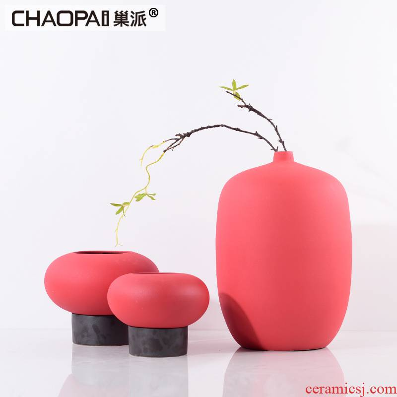 During the Spring Festival red vase three - piece furnishing articles between example ceramic flower arranging flower implement creative home soft decoration