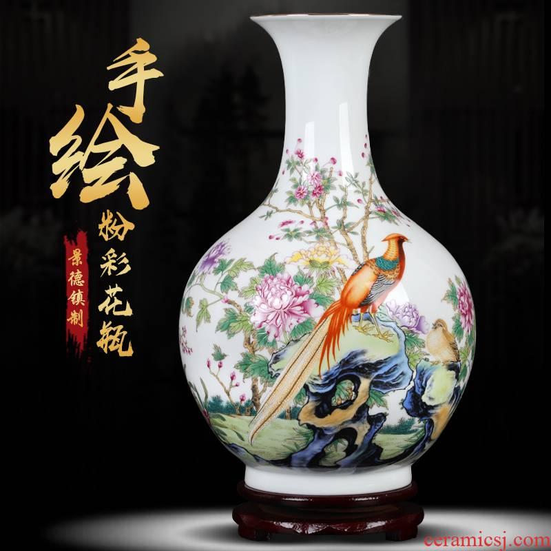 Jingdezhen ceramic powder enamel vase peony flower arrangement sitting room, office decoration furnishing articles large vases