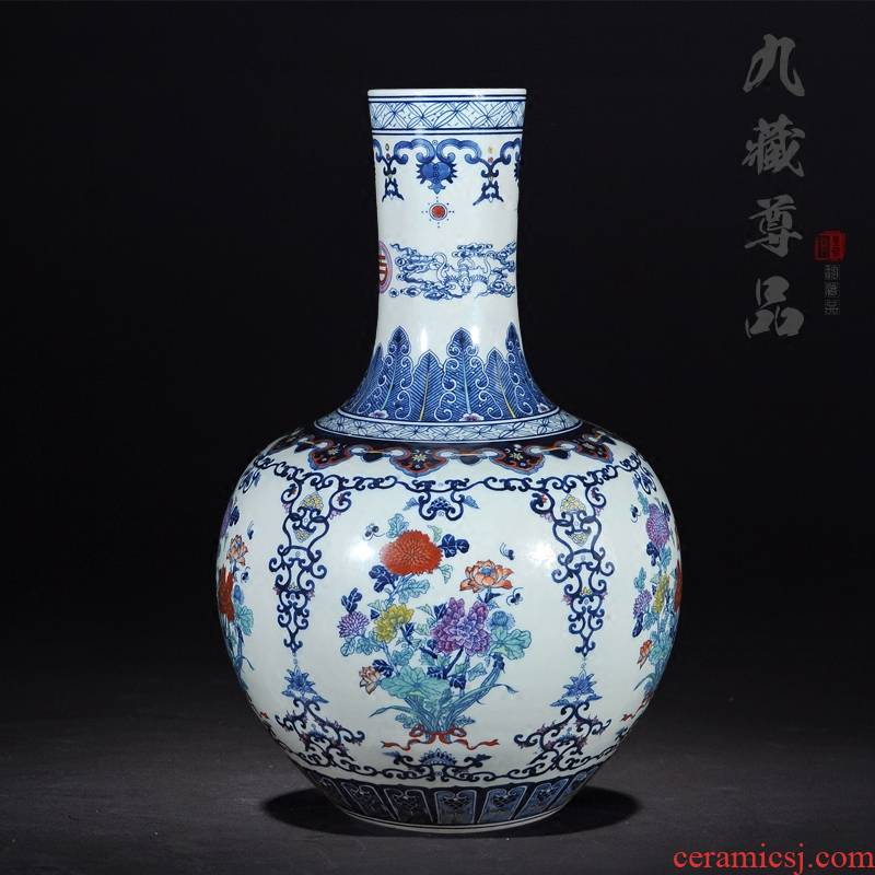 About Nine hid statute of the product of jingdezhen ceramic hand - made porcelain vase colorful celestial classical Chinese style living room China