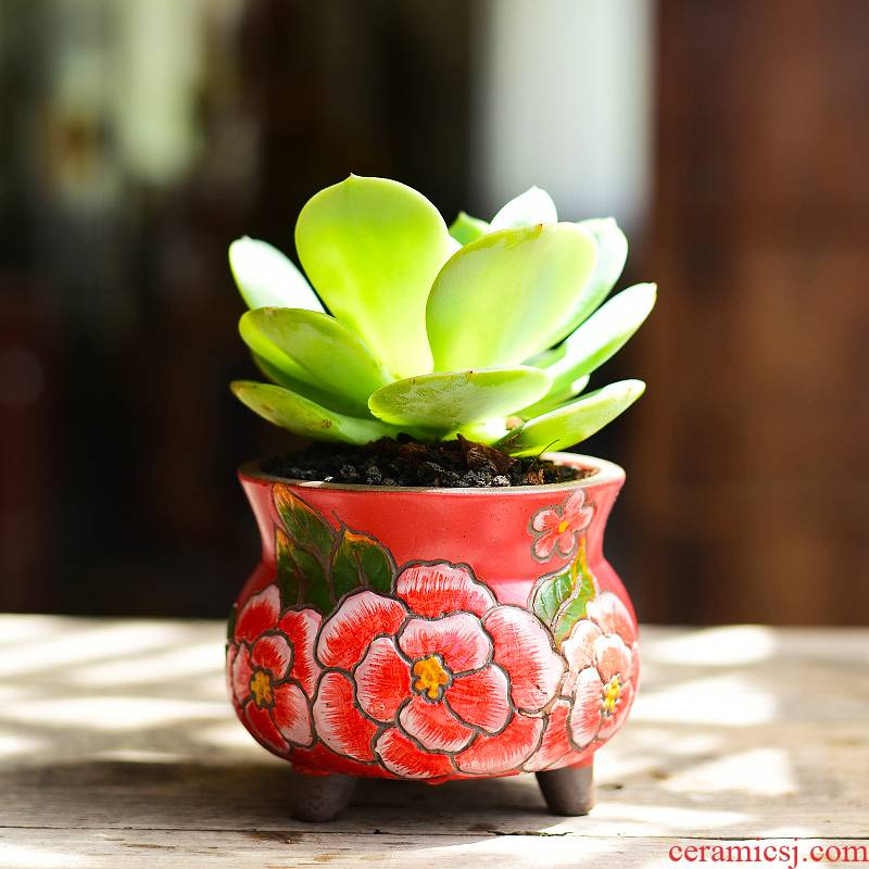 Korean hand - made ceramic coarse pottery flowerpot more meat creative move -raise fleshy the plants potted small breathable clay