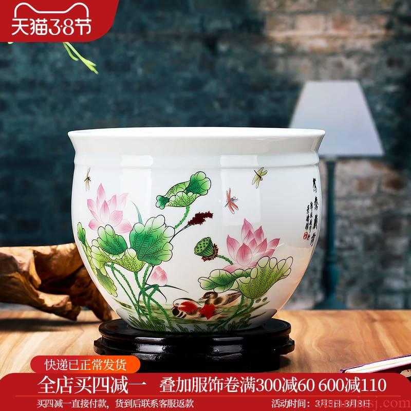 Mandarin duck play merry jingdezhen ceramics lotus goldfish bowl water lily bowl lotus flower POTS tortoise cylinder fish basin yg60