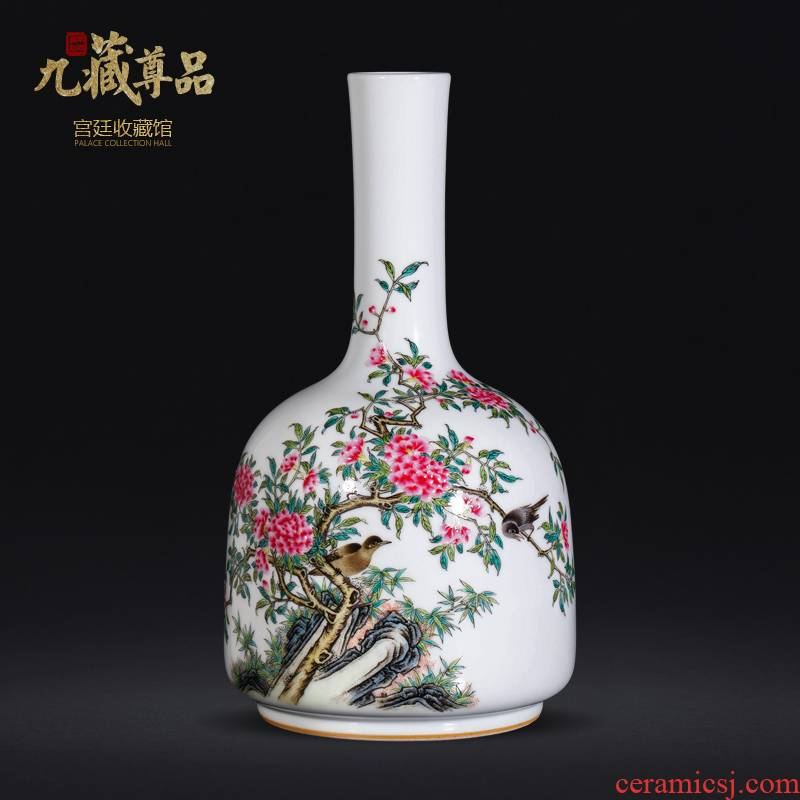 About Nine sect Buddha tasted hand - made ceramic vases, new Chinese style living room place jingdezhen porcelain powder enamel. A bell