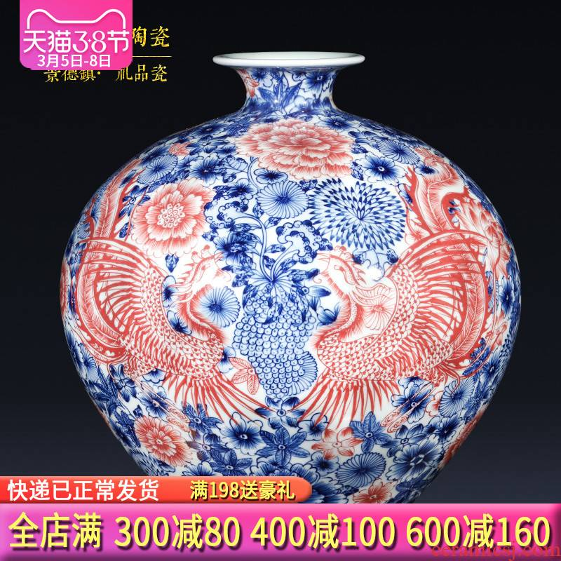 Jingdezhen ceramics imitation qianlong hand - made double phoenix Chinese blue and white porcelain vase sitting room home furnishing articles