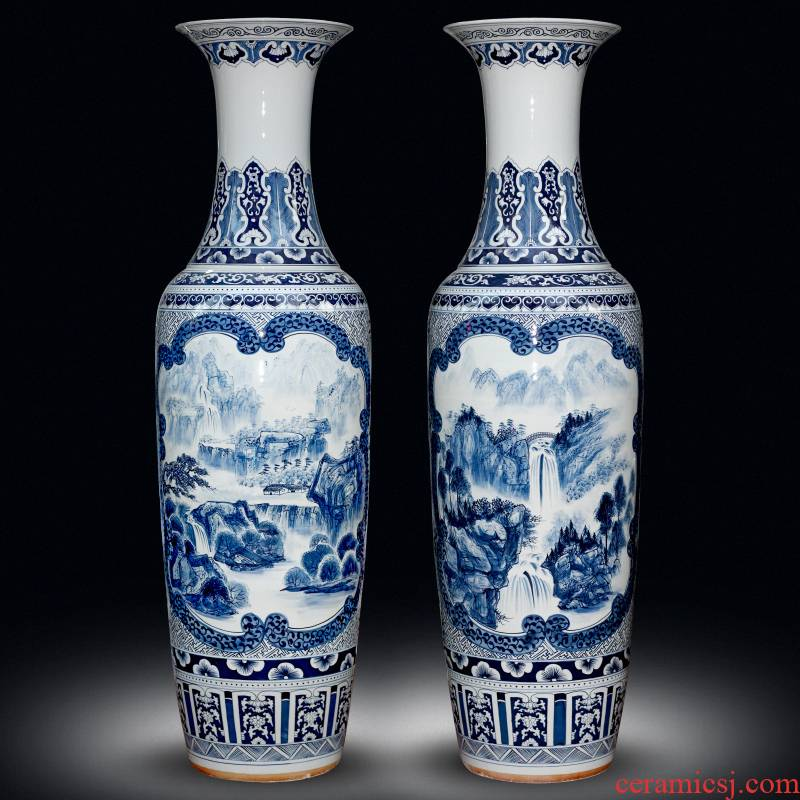 Large antique hand - made scenery of blue and white porcelain vase Chinese jingdezhen ceramics sitting room decorates porch crafts