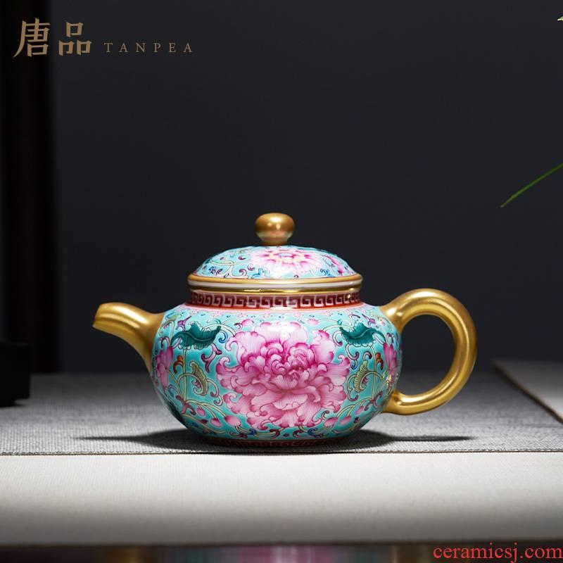 Tang Pin colored enamel kettle turquoise bound branch flowers see single pot of jingdezhen ceramic teapot kung fu tea set
