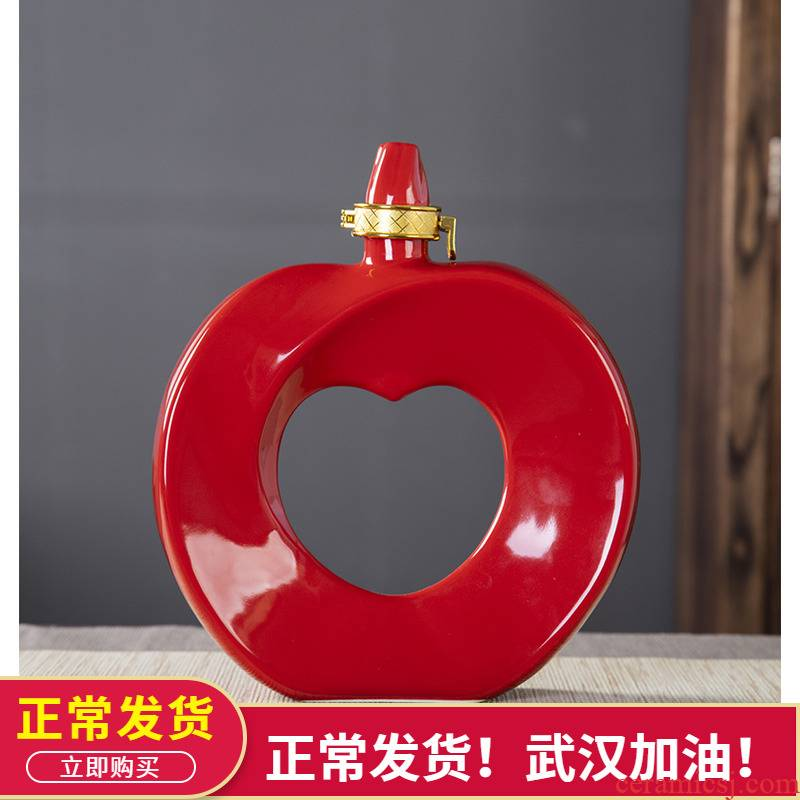 Bottle is empty bottles of jingdezhen ceramic household seal creative furnishing articles look at apple wine pot pot 1 catty
