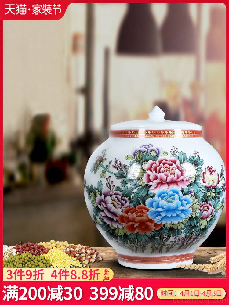 Jingdezhen ceramics barrel with cover grain storage jar jar caddy fixings Chinese sitting room adornment is placed