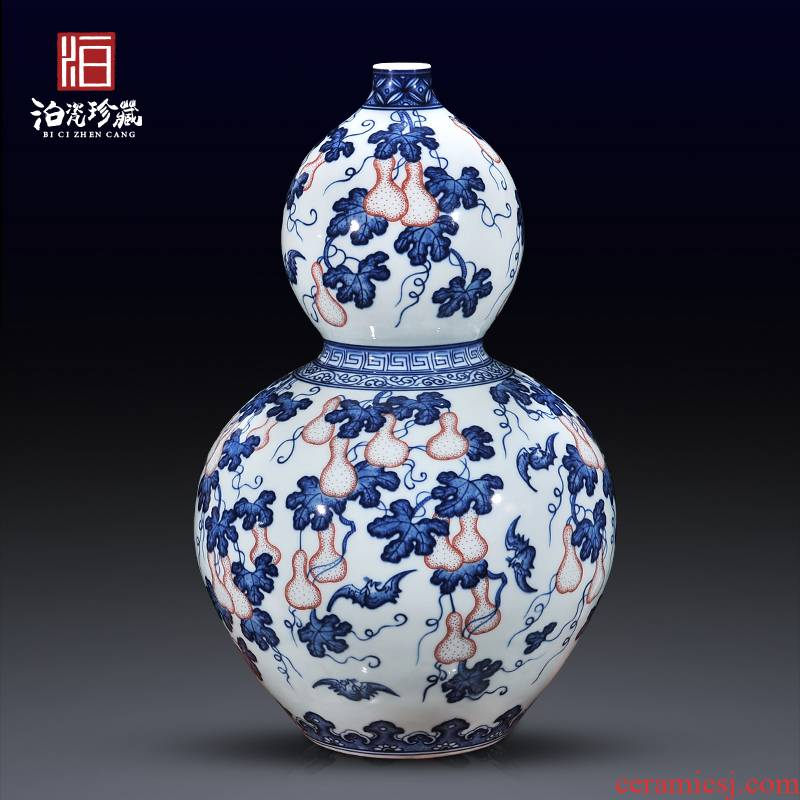 Jingdezhen blue and white f - fook noted gourd vases home sitting room hand antique ceramics craft ornaments furnishing articles