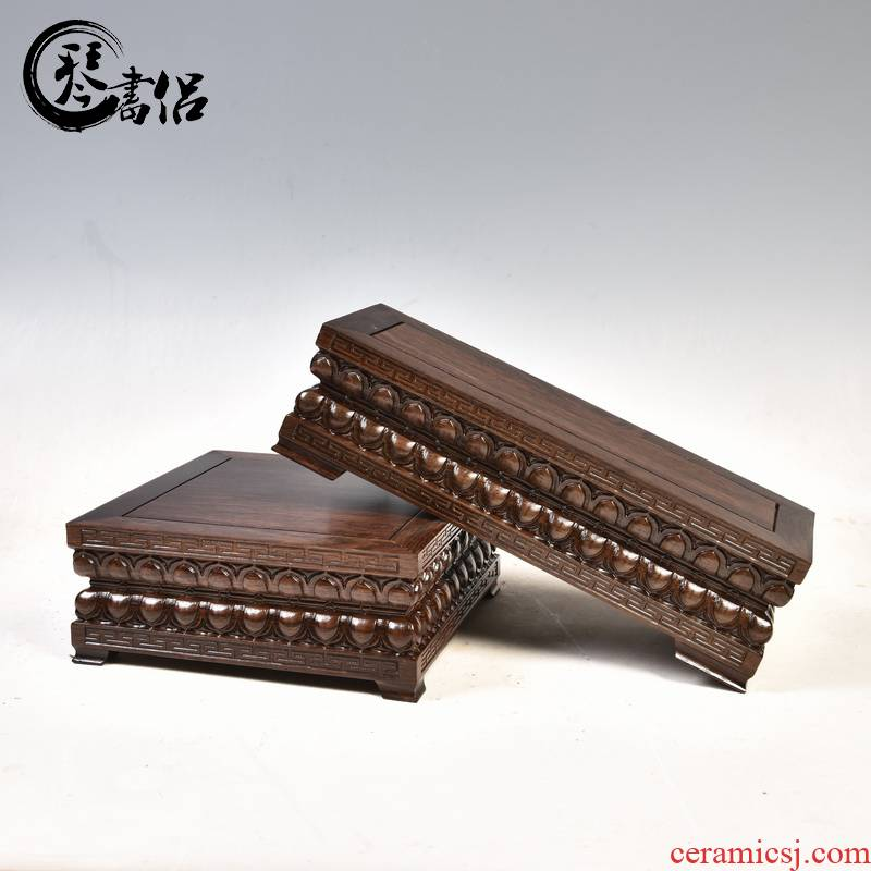 Ebony woodcarvings guanyin Buddha lotus pedestal rectangular square base solid wood ocean 's king kong base