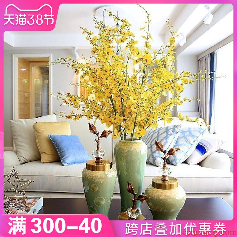 The New Chinese vase furnishing articles TV cabinet ceramic plug-in floral household table decorations, the sitting room porch desktop decoration