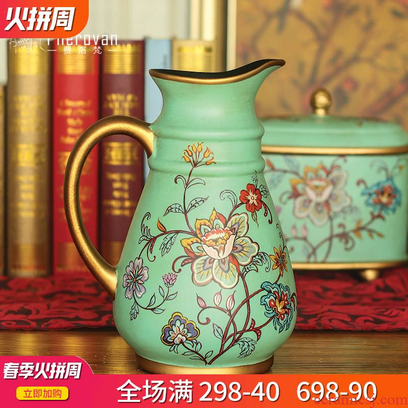 American ceramic vase furnishing articles sitting room flower arrangement dining - room of Europe type creative club dried flower decoration vase furnishing articles