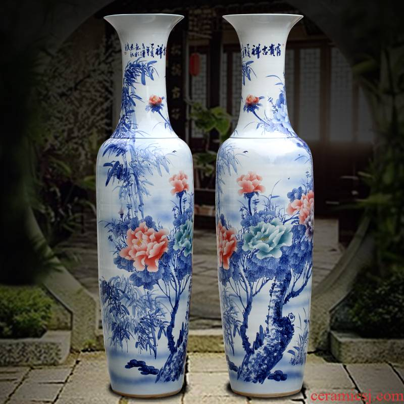 Jingdezhen ceramics hand - made rich auspicious sitting room of large vase household furnishing articles company opening gifts