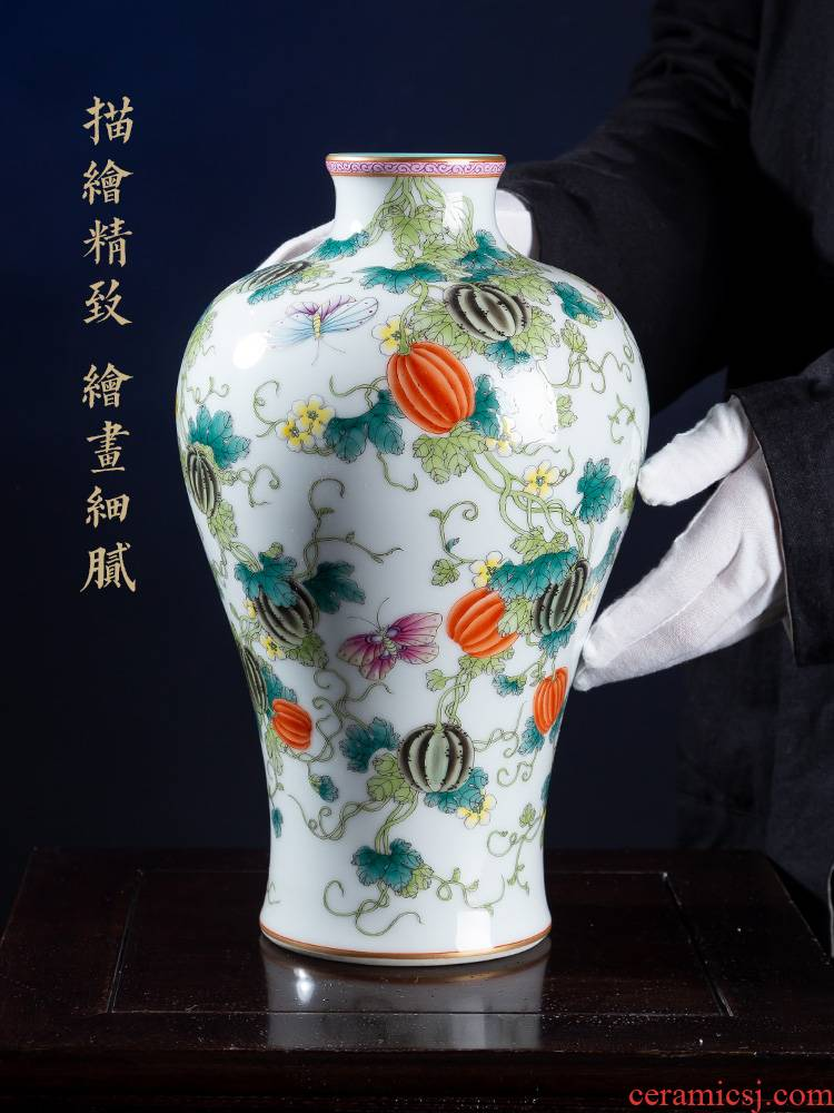 Jia lage jingdezhen ceramic vase YangShiQi famille rose see vines flower arrangement and the name mei bottles of China