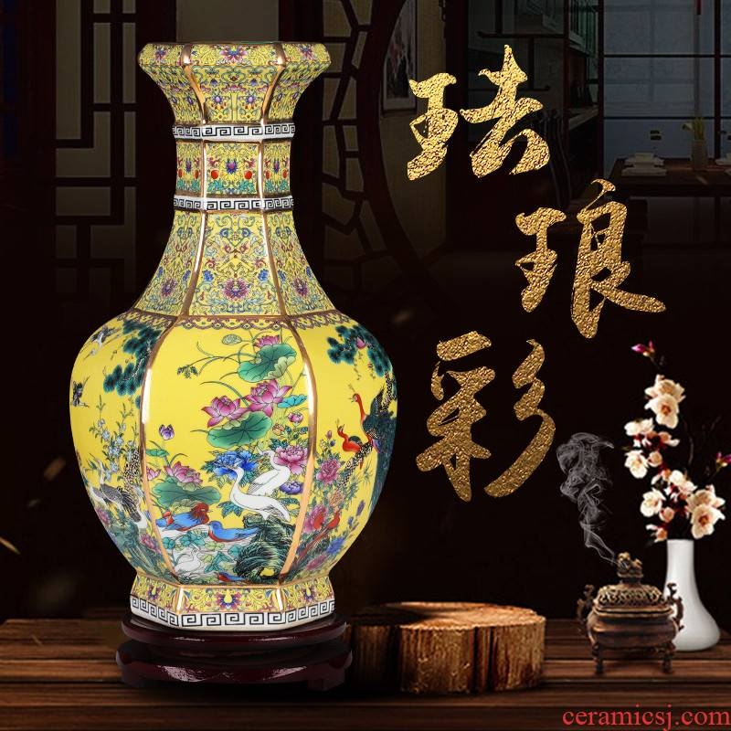 Chinese jingdezhen ceramics vase furnishing articles colored enamel decoration dried flowers flower arrangement sitting room adornment archaize handicraft