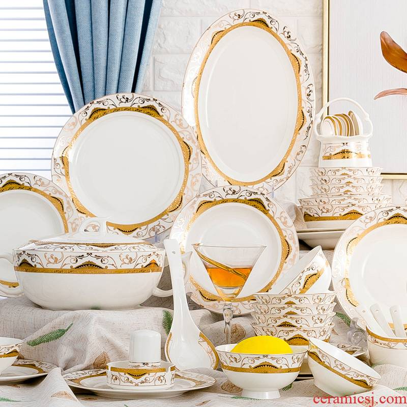 Jingdezhen ceramics tableware suit dishes suit household ipads bowls to eat rice bowl microwave dishes chopsticks