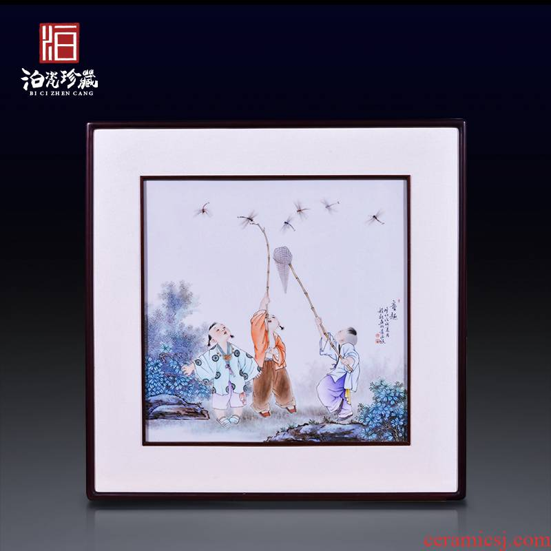 Jingdezhen ceramics hand - made tong qu Chinese modern porcelain plate painting the living room background decoration hanging painter in furnishing articles