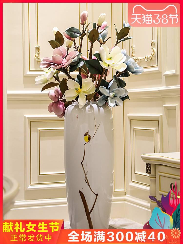 New Chinese style living room floor vase mall cafe restaurant decorative flower receptacle, jingdezhen ceramic decorative furnishing articles