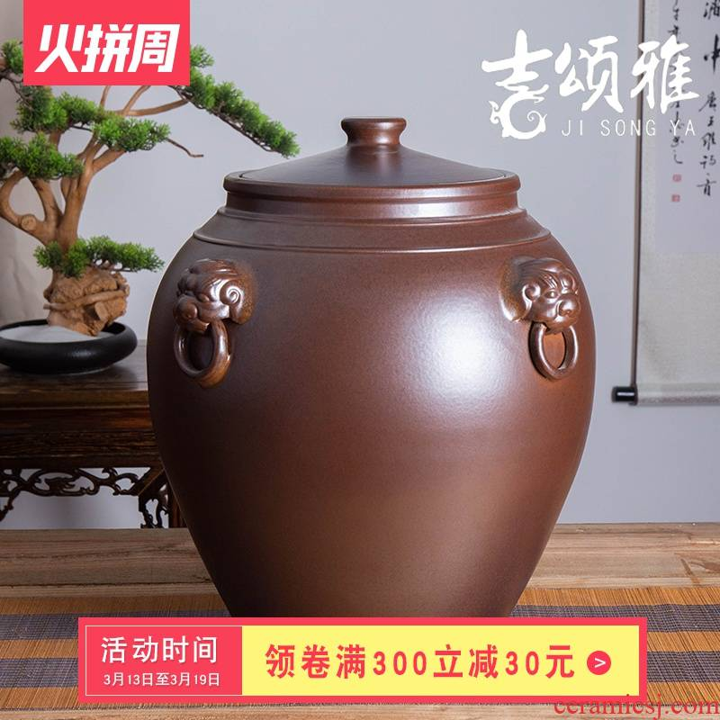 Jingdezhen ceramic jar 30 jins 50 kg cylinder tank mercifully jars informs the archaize sealing wine jar of restoring ancient ways