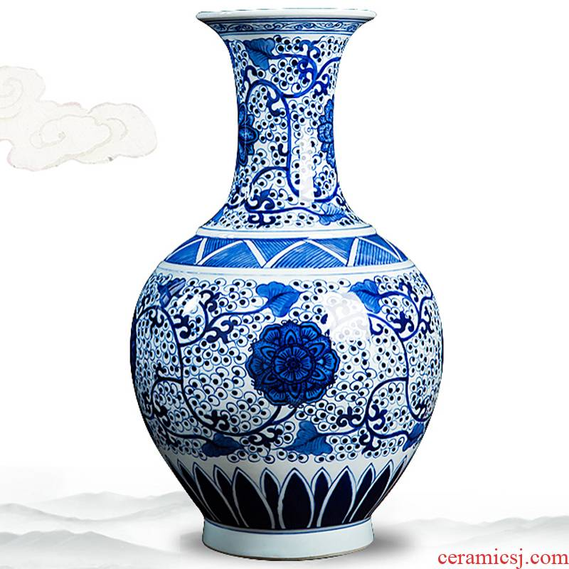 Jingdezhen ceramics high - grade hand - made antique blue and white porcelain vases, furnishing articles sitting room home decoration handicraft decoration
