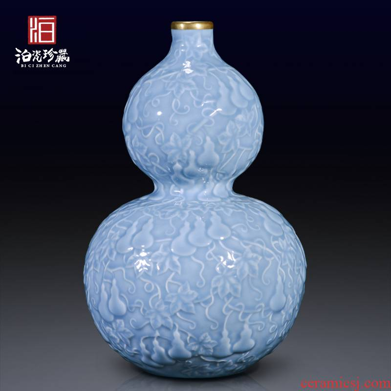 Descendants of archaize of jingdezhen chinaware paint blue glaze carving ten thousand broke gourd bottle home furnishing articles in the living room