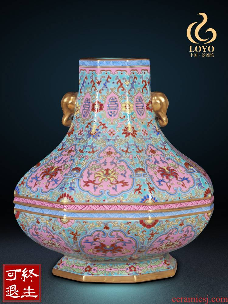 Jingdezhen ceramics imitation the qing qianlong pastel heavy abnormity vases, Chinese style living room decorations furnishing articles rich ancient frame